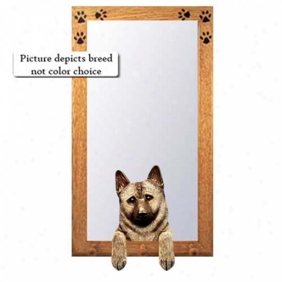 Norwegian Elkhound Hall Mirror With Oak Golden Frame