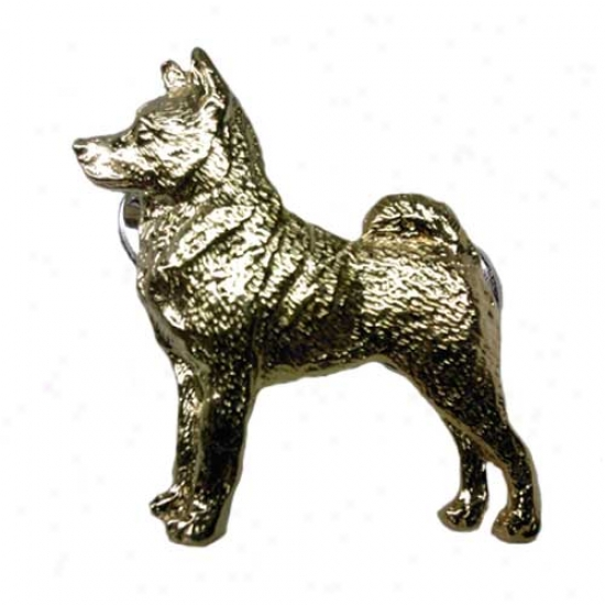 Norwegian Elkhound Pin 24k Gold Plated