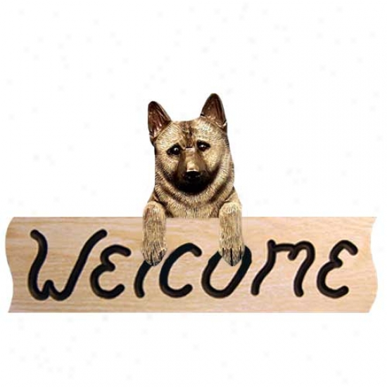 Norwegian Elkhound Welcome Sign Oak