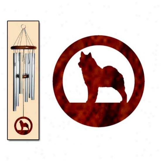 Norwegian Elkhound Wind Chimes Medium Silver