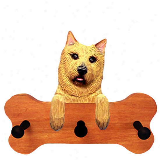 Norwich Terrier Bone Hang Up Maple Finish