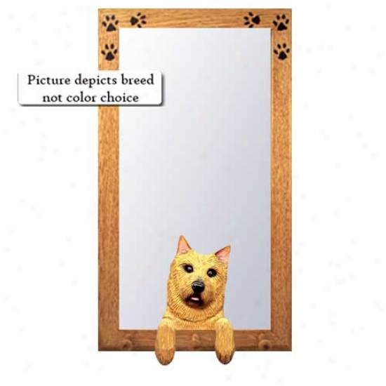 Norwich Terrier Hall Mirror With Oak Golden Frame