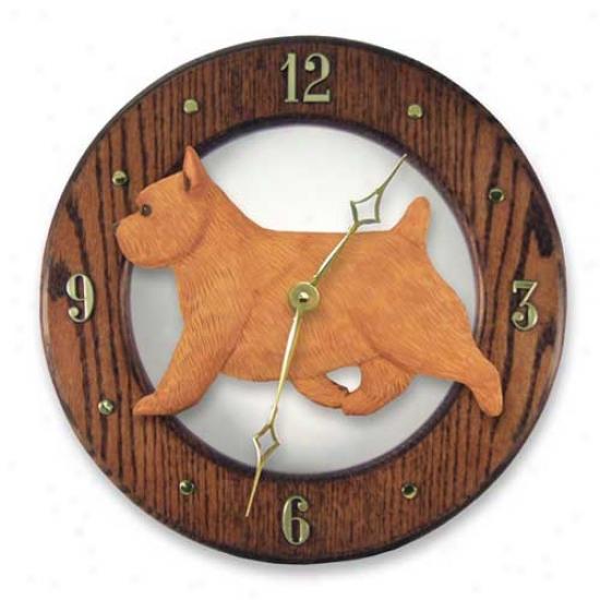 Norwich Terrier Wall Clock In Mysterious Oak By Michael Park