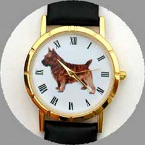 Norwich Terrier Watch - Small Face, Black Leather