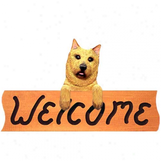 Norwich Terrier Welcome Sign Maple