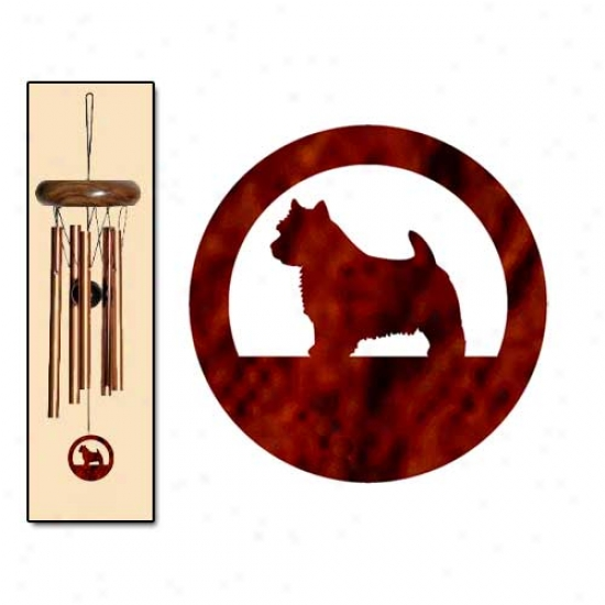 Norwich Terrier Breath Chimes X-small Bronze