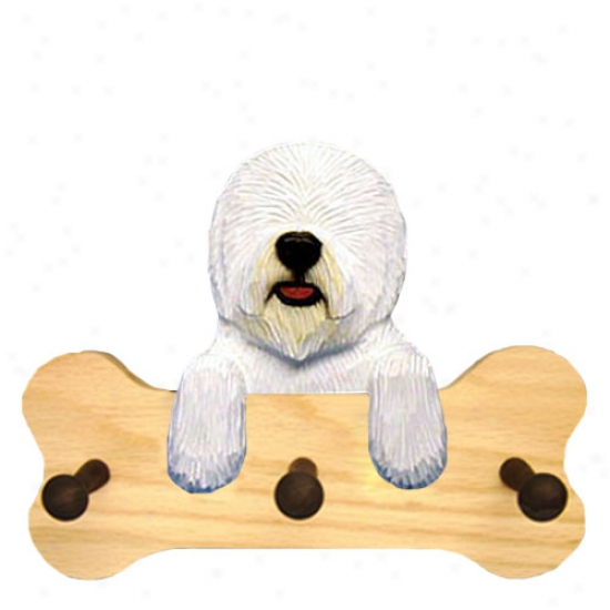 Old English Sheepdog Bone Hang Up Natural Oak
