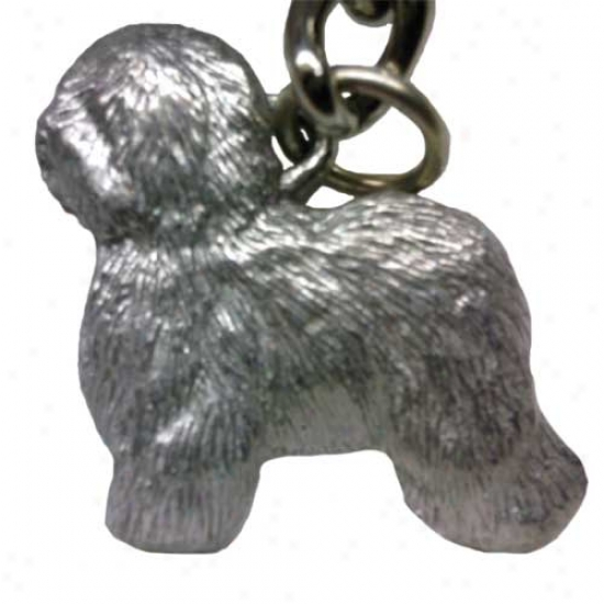 Crafty English Sheepdog George Harris Pewter Keychain