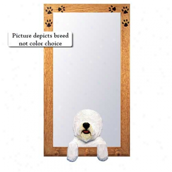 Old English Sheepdog Hall Mirror With Basswood Walnut Frame