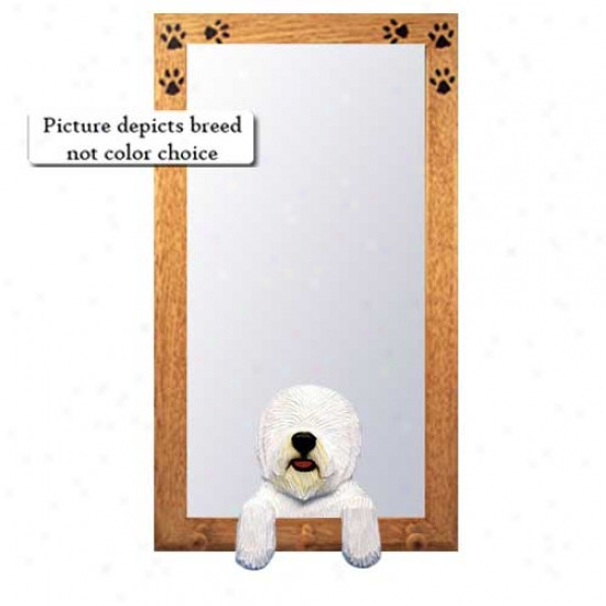 Old English Sheepog Hall Mirror With Oak Natural Frame