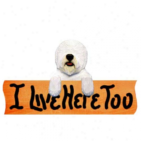 Old English Sheepdog I Live Here Overmuch Maple Finish Sign