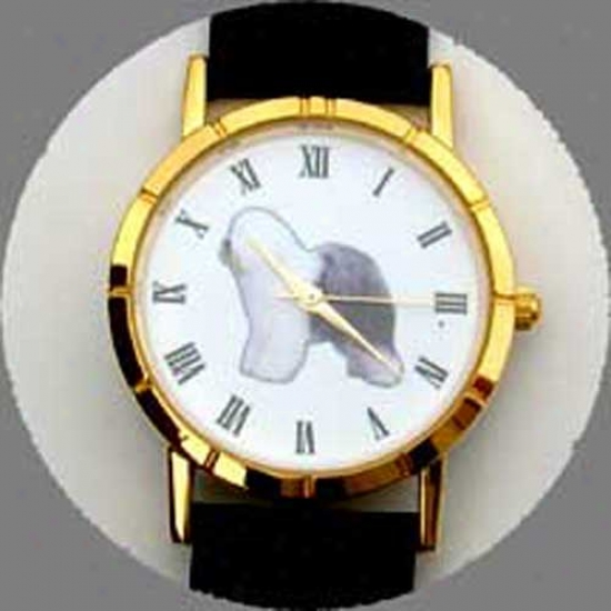 Old English Sheepdog Watch - Small Face, Black Leathr