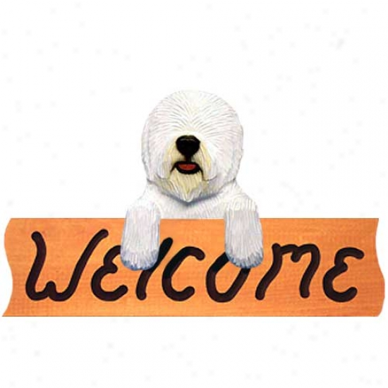 Old English Sheepdog Welcome Sign Maple