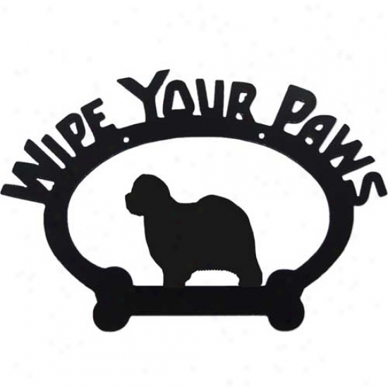 Old English Sheepdog Wipe Your Paws Decorative Sign