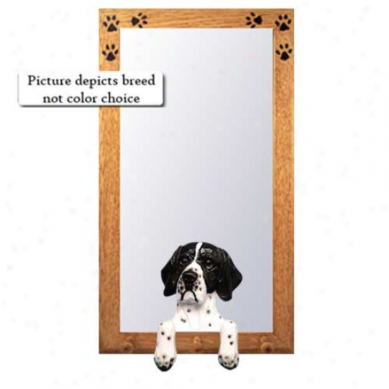 Orange And White Pointer Hall Mirror Attending Oak Golden Frame