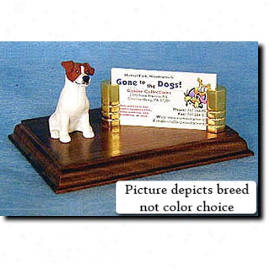 Parson Russell Terrier (black And White) Business Card Holder