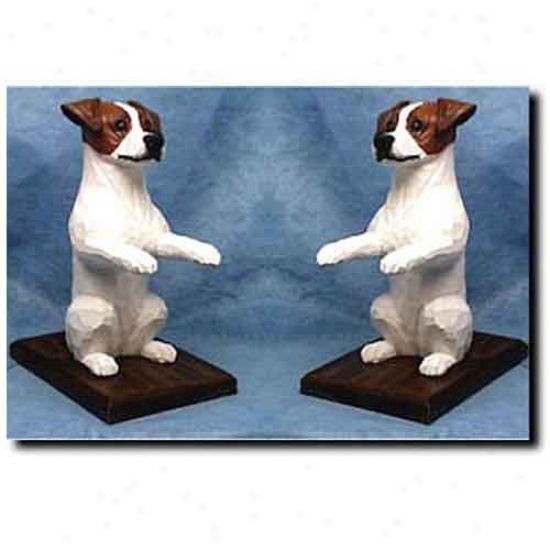 Parson Russell Terrier Bookends Brown And White