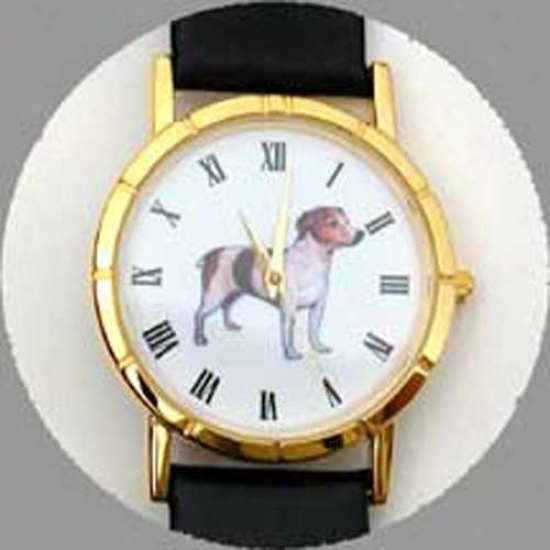 Parson Russell Terrier (smooth) Watch - Large Face, Black Leatuer