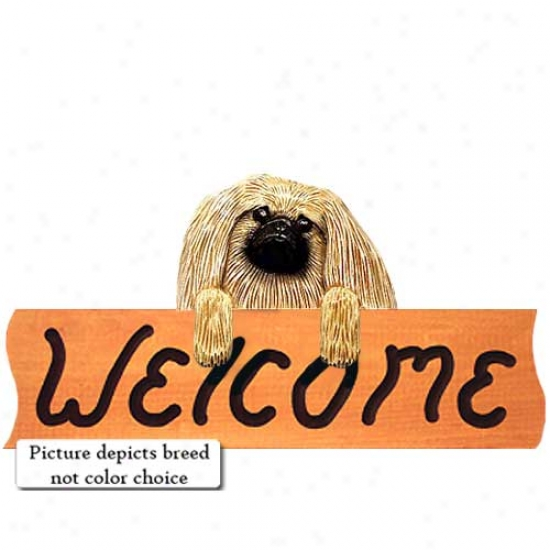 Pekingese Red Welcome Sign Maple