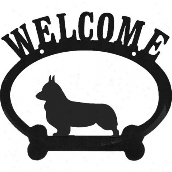 Pembroke Welsh Corgi Metal Welcome Sign