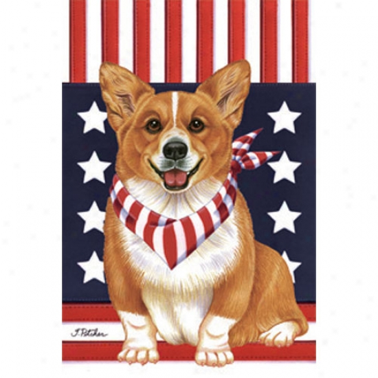 Pembroke Welsh Corgi Patriotic Breed Garden Flag