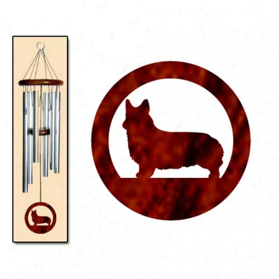 Pembroke Welsh Corgi Wind Chimes Medium Silver