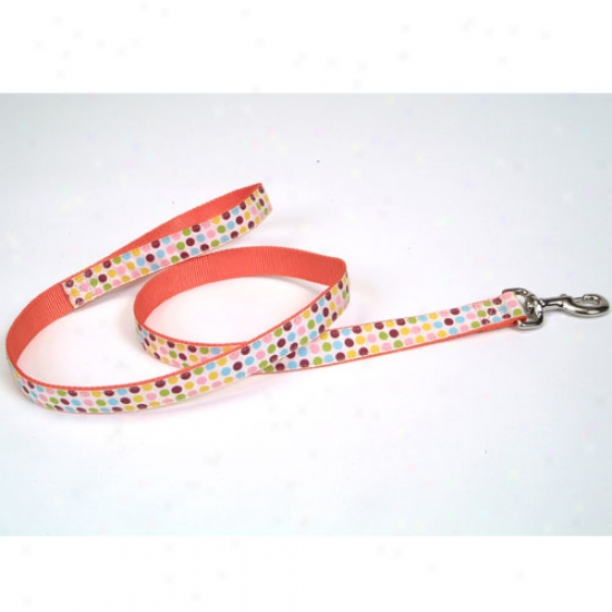 Pet Attre Polka Dot Ribbon Lead 1 Inch X 6 Foot