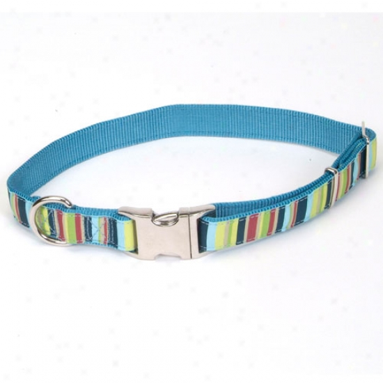 Pet Attire Ribbon Collar Adjustable Striped 1 In X 18 To 26 Inches