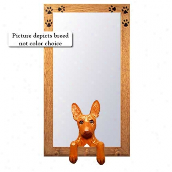 Pharaoh Hound Hall Mirror With Oak Golden Frame