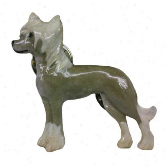 Platinum Chinese Crested Hand Painted Pin
