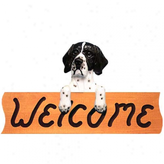 Pointer Blafk And White Welcome Sign Maple