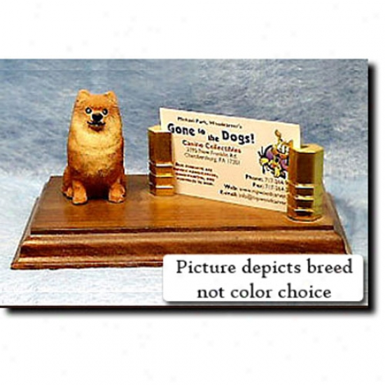 Pomeranian (brown) Business Card Holder