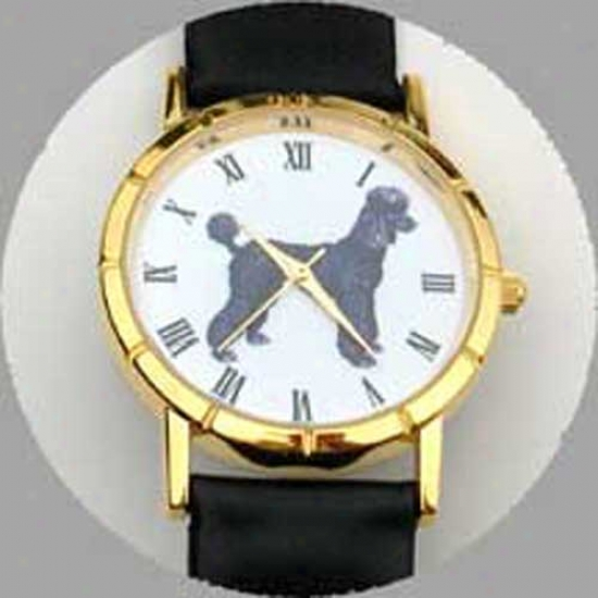 Poodle (black) Watch - Large Face, Black Leather