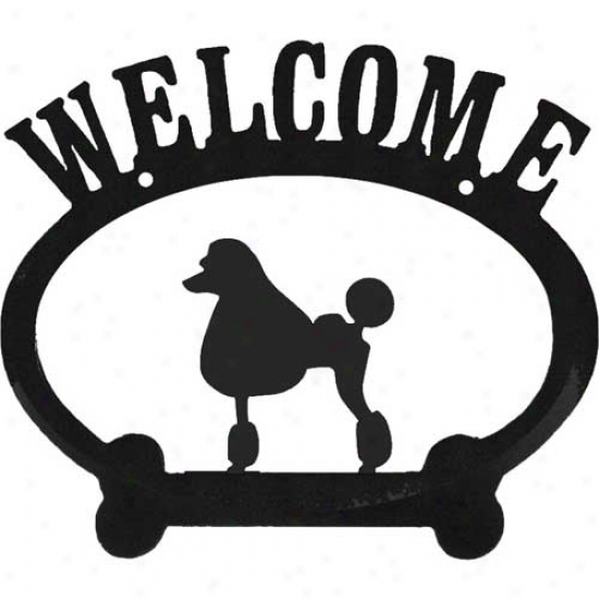 Poodle Metal Welcome Sign Show Clip
