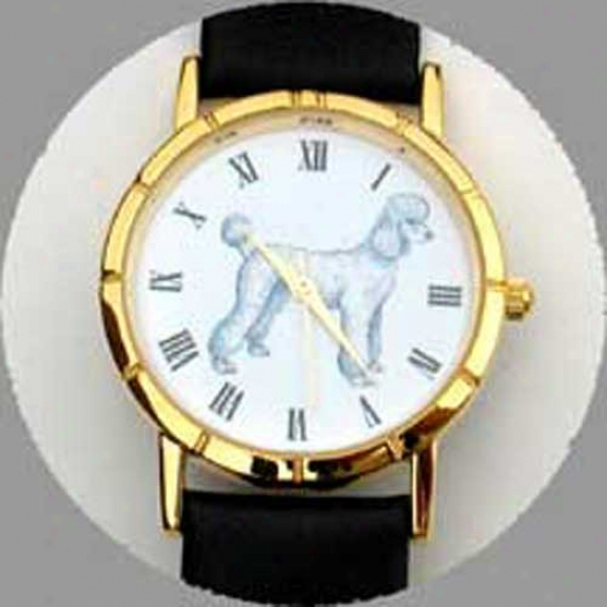 Poodle (white) Watch - Small Face, Black Leather
