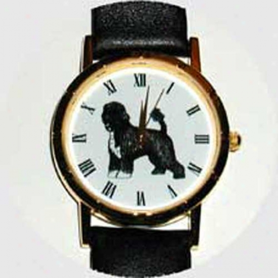 Portuguese Water Dog Watch - Mean Face, Black Leather