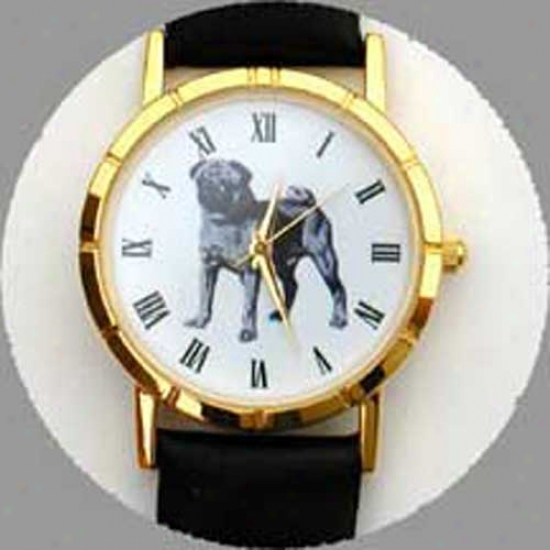 Pug (black) Watch - Small Face, Black Leather