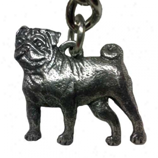 Pug George Harris Pewter Keychain