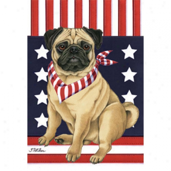 Pug Patriotic Breed Garden Flag