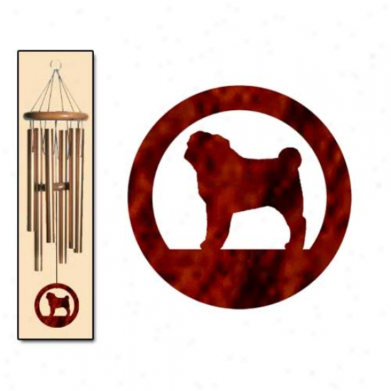 Pug Wind Chimes Small Bronze