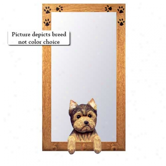 Puppy Clip Yorkshire Terrier Hall Mirror With Oak Natural Frame