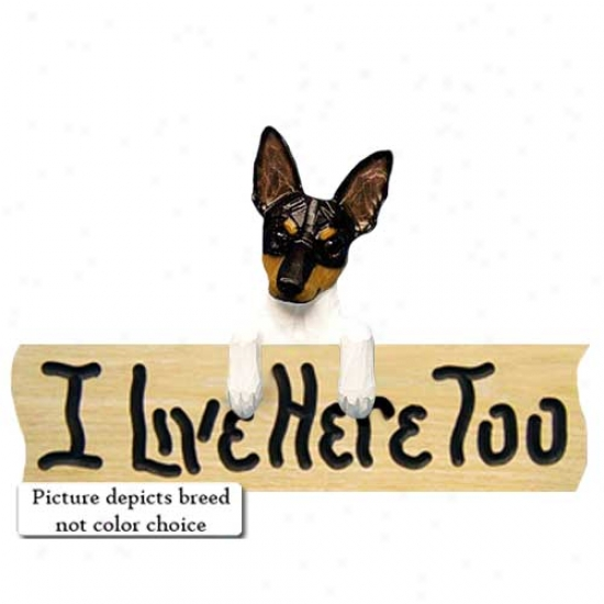 Rat Terrier I Live Here Too Oak Finish Sign Red And White