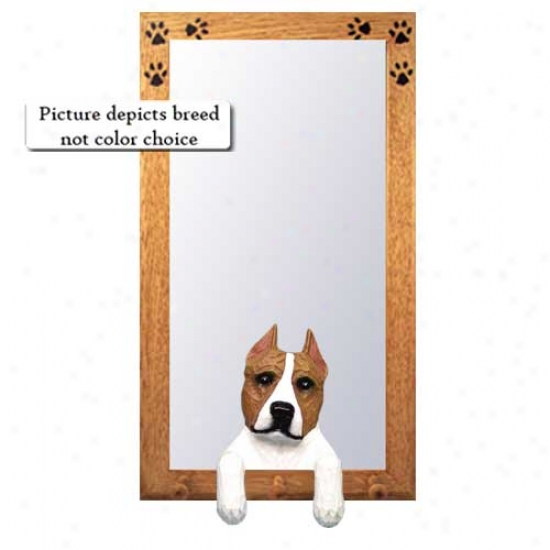 Red American Staffordshire Terrier Hall Mirror With Basswood Pine Frame