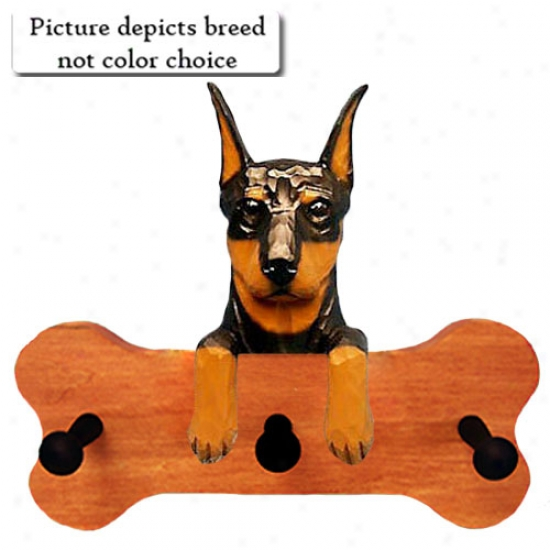 Red And Tan Doberman Pinscher Bone Hang Up Maple Finish