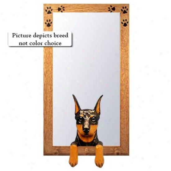 Red And Tan Doberman Pinscher Hall Mirror With Basswood Walnit Frame