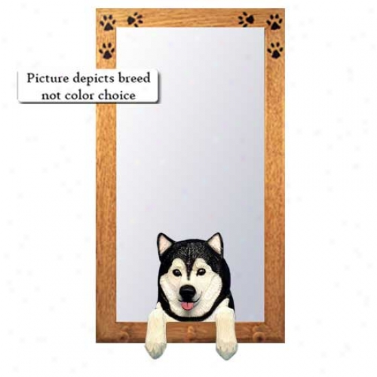 Red And White Alaskan Malamute Hall Mirror With Basswood Walnut Construct