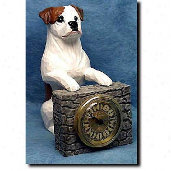 Red And White American Bulldog Mantle Clock