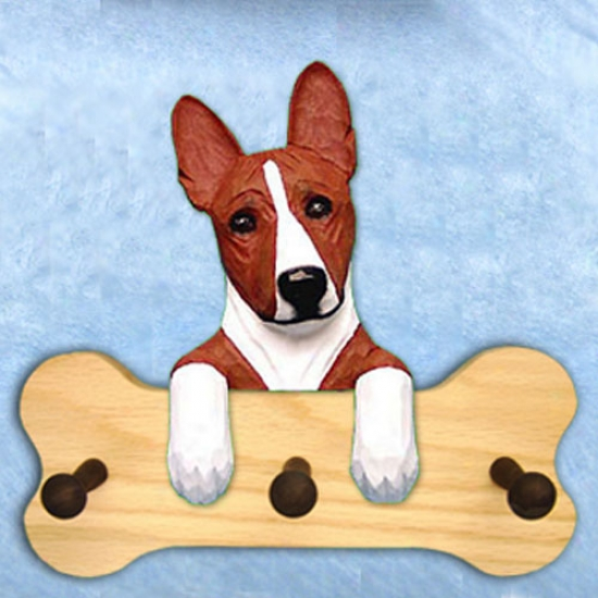 Red And White Basenji Bone Hang Up Natural Oak