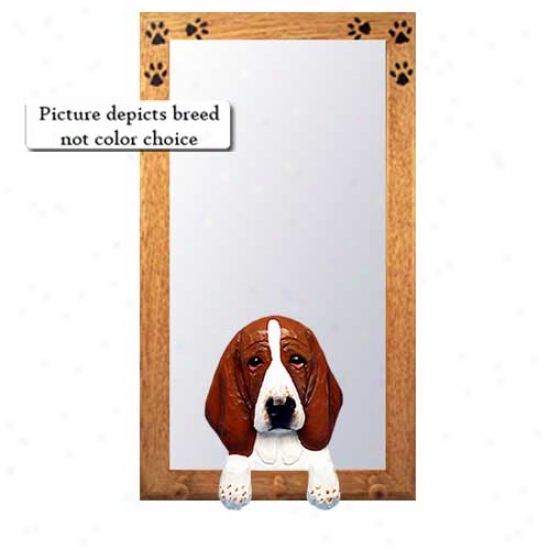 Red And White Basset Hound Hall Mirror With Basswood Pine Frame