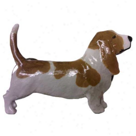 Red And White Basset Hound Hand Painted Pin